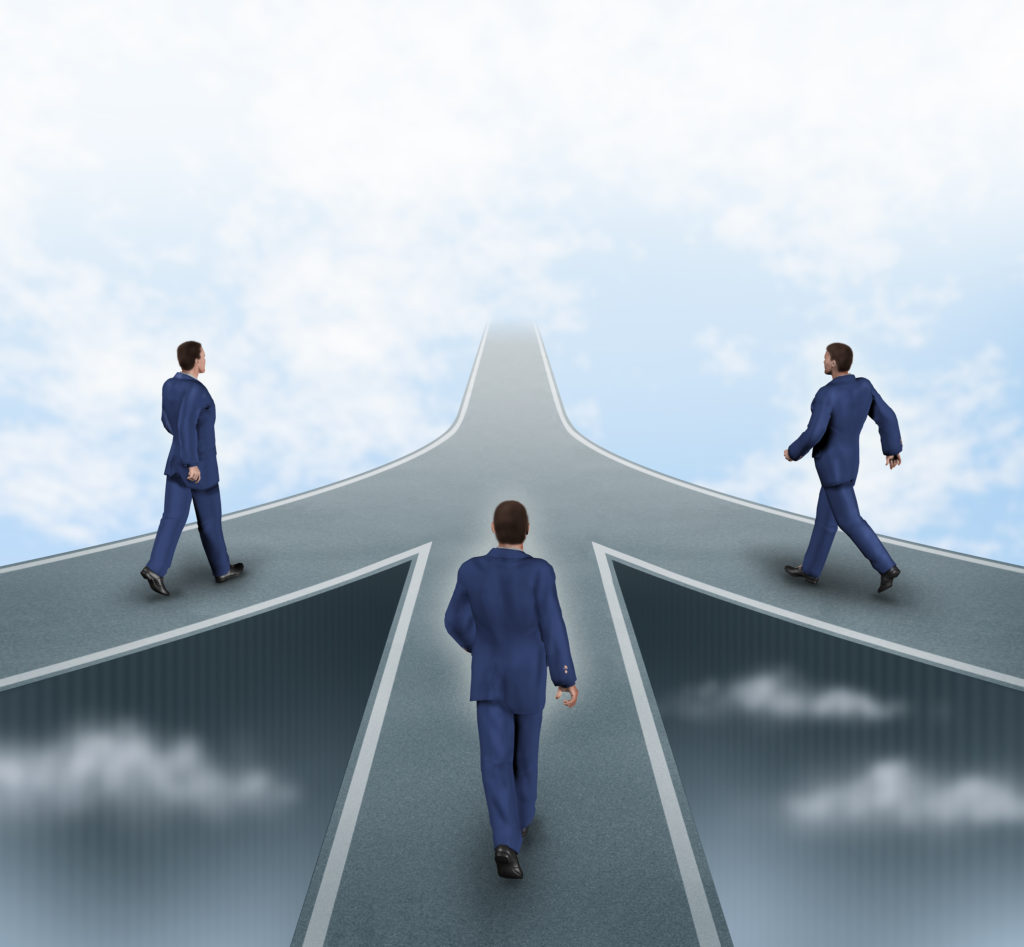 Business partnerships featuring three business men walking on different roads to the same goal as a team working together as a strategic corporate alliance with